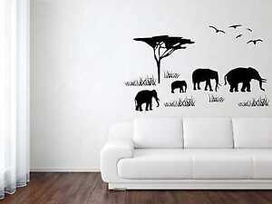 Wandtattoo Aufkleber Afrika Elefant Vogel 4 Gr. inkl. Rakel Kinderzimmer W184