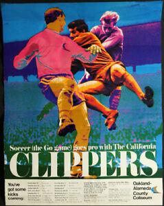 California Clippers _VERY RARE 1967 NPSL Soccer Oakland Coliseum Schedule Poster