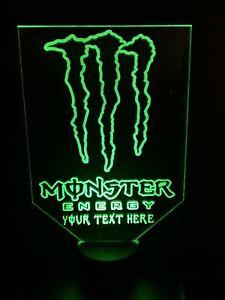 BIG PERSONALISED MONSTER ENERGY NIGHT LIGHT LAMP MULTI-COLOR LED USB BASE