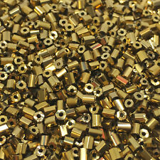 50g glass HEX seed beads - Brass Metallic - size 11/0 (approx 2mm) 2-cut