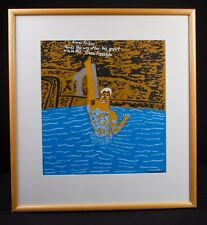 "Screenprint by Aboriginal artist Ian Abdulla ""Way to Go! Kieren Perkins"" Olympic"