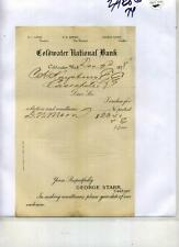 Coldwater Michigan 1878 Document National Bank