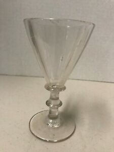 Circa 1820's ribbed button knop stem wine glass