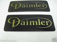 DAIMLER ROCKER COVER BADGES BLACK GOLD LETTERING C35733 PAIR