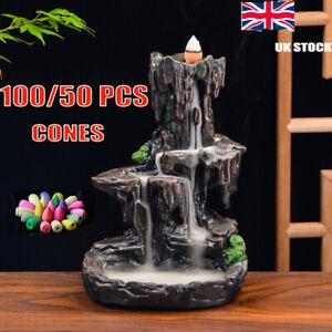Ceramic Mountain Waterfall Backflow Smoke Incense Burner Censer Holder 100/50PCS