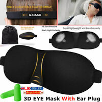 Sleep 3D Eye Mask and Ear Plugs Travel Sleeping Rest Aid Shade Cover Relax