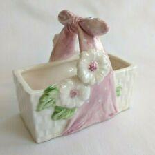Vintage Fitz & Floyd Ff 1983 White Ceramic Spring Basket Daisies Pink Handle