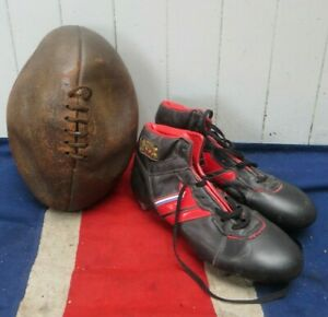 ANTIQUE VINTAGE OLD RETRO LEATHER RUGBY BALL AND LEATHER RUGBY BOOTS DISPLAY