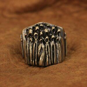 LINSION Details Brass Nothingness World Ghost Ring Mens Biker Ring BR273A US