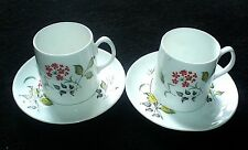 Queen Anne 'KANSAS' BONE CHINA Orange Red Flowers Patt Cups and Saucers x2 c1950