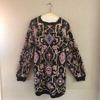 VTG Chunky Sweater Tunic Hand Knit Floral Bobbles Medium M Hunter's Run Black