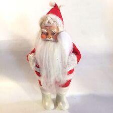"Vtg Christmas 50s JAPAN 7.5"" Standing Santa White Boots Felt Clothes Rubber Face"