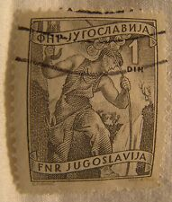 Yugoslavia Stamp 1951 Scott 343 A68  Definitive 1 Din