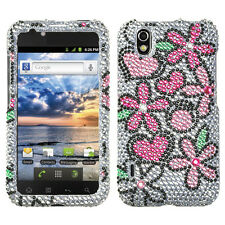 For LG Marquee Crystal Diamond BLING Hard Case Phone Cover Fantastic Flowers