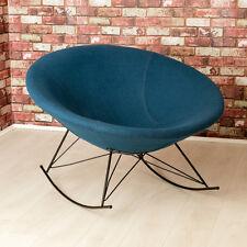 Ozzy Round Designer Felt Rocking Chair / Unique Bowl Seat / Blue Accent Chair