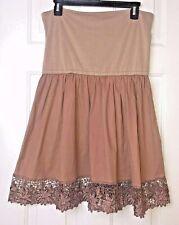 ASOS Maternity Mocha/Brown Cotton Skirt Lace Hem Soft Waist US 10
