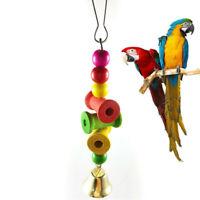 Parrot Pet Bird Chew Bite Toy Wooden Bell Cage Cockatiel Favor Toys CL L6S6