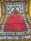 """Authentic Pre-1900s Antique Wool Pile 3'7""""×4'9"""" Natural Dye Prayer Rug"""