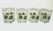 Vintage Libbey? Frosted Tumbler Glasses with Black Flowers Set of 4