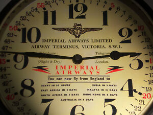Imperial Airways Limited, Vintage 1930's Style Reception Wall Clock, (Replica)