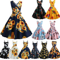 Women 50s 60s Vintage Retro Dress Rockabilly Sunflower Holiday Party Swing Dress