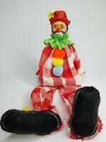 "Handmade Clown Hobo Doll 15"" tall"