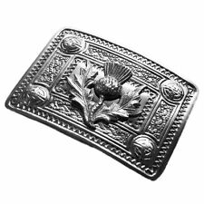 Tartanista Mens Scottish  Celtic Thistle Design Kilt Belt Buckle In Chrome