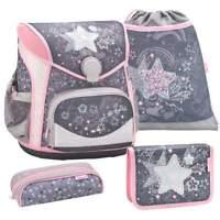 Belmil Schulranzen Set 4-tlg Erstklässler Einschulung Mädchen grau rosa Sterne