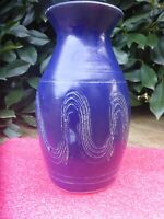 BEAUTIFUL  BLUE  AUSTRALIAN  BENDIGO POTTERY VASE 23CM tall