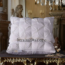 New Goose Feather Bedding Pillow Neck 100% Cotton Cover Soft Pillow Down Satin