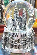 45 mm New York City Snow Globe, Brooklyn Bridge, Statue of Liberty, NYC Souvenir