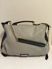 Steve Madden Woman's Purse Grey Black Large Tote Handles W Long Strap Hobo Carry