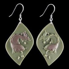 Carved Fish Silver Earring ED900028