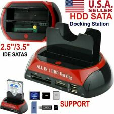 NEW HDD Docking Station SATA IDE Dual USB 2.0 Clone Hard Drive Card Reader USA