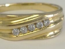 14 K SOLID GOLD  MEN'S   DIAMOND 0.10CT RING SIZE 14