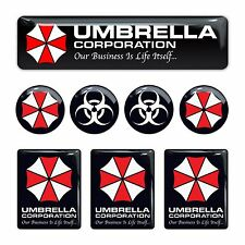 Umbrella Corporation Resident Evil 3d domed emblem decal stickers set 8pc