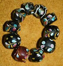 Antique Venetian Fancy Lampwork Black & Red Trail Decorated Beads, African Trade
