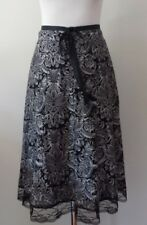 CKM size L skirt black/grey/silver below knee lace trim cocktail party lined