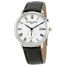 Frederique Constant Slimline White Dial Mens Leather Watch FC-245WR5S6