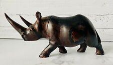 Hand Carved Hardwood African Dark Wood Rhino Figurine Sculpture ~ Euc