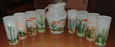 Vintage Frosted Glass Arizona Cacti Pitcher & 8 Glasses - excellent condition