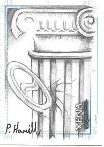 Xena Art & Images Sketchafex Patrick Hamill Sketch Card Yin Yang Chakram &Pillar