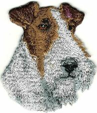 """2 1/8""""x2 1/2"""" Wired Black White Fox Terrier Portrait Dog Breed Embroidery Patch"""