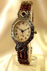 Working! Quartz Ladies Wrist Watch Silver Color w/ Ruby Resin Beaded Bracelet