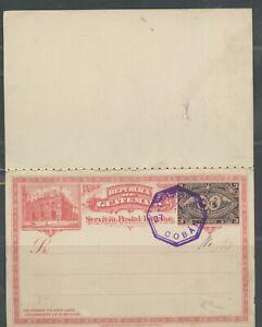 GUATEMALA 3C PRECANCELLED COBAN ?/27/1897 POSTAL STATIONERY DOUBLE CARD SHOWN