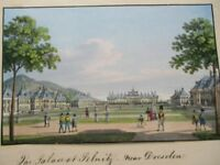 Vintage Print,PALACE OF PELNITZ,Dresden,GERMANY,Hand Painted,1850