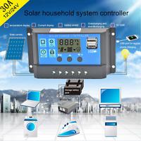 10A-30A Solar Panel Controller Battery Charge Regulator 12V/24V + Dua HQ