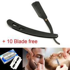 Stainless Steel Handle Straight Edge Barber Folding Shaving Knife &10 Blades