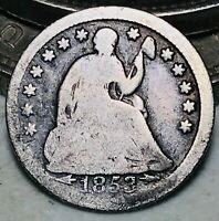 1853 Seated Liberty Half Dime 5C Arrows Ungraded Good Date Silver US Coin CC6875