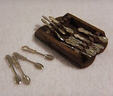 Doll House Miniature Souviner Spoon Rack with Spoons - Wall Decoration